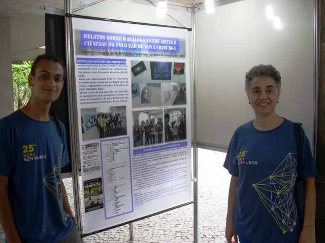 Matheus Darrieux de Souza (BIO) e a profa Fátima Kzam (orientadora do projeto).